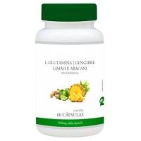 L-Glutamina com Gengibre, limão e abacaxi 500mg 60 cápsulas